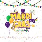 Mardi Gras-brochure Vectorembleem met hand het getrokken van letters voorzien Groetkaart met glanzende parels op traditionele kle stock illustratie