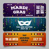 Mardi Gras brochures. Vector logo with hand drawn lettering and golden fat tuesday symbols. Greeting cards with shining royalty free illustration