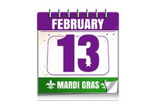 Mardi Gras calendar 2018. Holiday date in calendar. 13th of February. Mardi Gras also called Shrove Tuesday or Fat Tuesday. Vector illustration isolated on Stock Photos