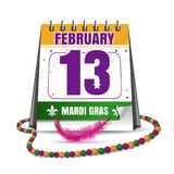 Mardi Gras calendar 2018. Holiday date in calendar. 13th of February. Mardi Gras also called Shrove Tuesday or Fat Tuesday. Masquerade concept. Vector Stock Photos