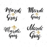 Mardi Gras Calligraphic Letterings Set Typografisk hälsningsdesign Kalligrafibokstäver för feriehälsning Hand dragen lette Arkivbilder