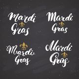 Mardi Gras Calligraphic Letterings Set. Typographic Greetings Design. Calligraphy Lettering for Holiday Greeting. Hand Drawn Lette royalty free illustration