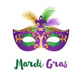 Mardi Gras card with carnival mask. Mardi Gras card. Bright carnival mask with feathers. Vector Illustration Royalty Free Stock Photos