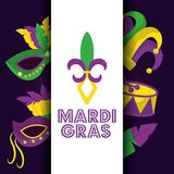 Mardi gras card dot lettering flor de lis mask drum hat icons. Vector illustration Royalty Free Stock Images