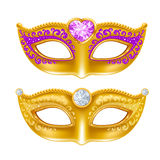 Mardi Gras. Carnaval golden mask with gems. Vector illustration. Isolated on white background Stock Image