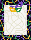 Mardi Gras carnival background. Masquerade masks and beads in a masquerade party theme