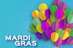 Mardi gras carnival background - beads and mask. Happy Mardi Gras in paper cut style. Origami Carnival background with ballon. Colorful decoration for party Royalty Free Stock Images