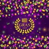 Mardi Gras carnival background with light lamps garlands. Stock vector illustration Stock Images