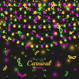 Mardi Gras carnival background with light lamps garlands. Stock vector illustration Royalty Free Stock Photography