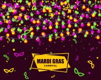 Mardi Gras carnival background with light lamps garlands. Stock vector illustration Stock Photography