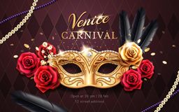 Mardi gras carnival banner, flyer with mask. Mardi gras carnival banner with mask and rose flower, feather, beads or chaplet. Masquerade costume part on venice vector illustration
