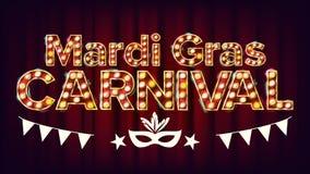 Mardi Gras Carnival Banner Vector Lampe au néon lumineuse d'or de vintage de carnaval Pour la carte de voeux, invitation de parti Photographie stock libre de droits