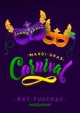 Mardi Gras Carnival Calligraphy Invitation Poster Stock Image