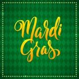 Mardi Gras Carnival Calligraphy Poster Kort för hälsning för vektorillustration Calligraphic grönt Mardi Gras typbehandling vektor illustrationer