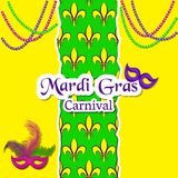 Mardi Gras Carnival card. The pattern with fleur de lis or lily flowers in the middle. The inscription, carnival masks and beaded Royalty Free Stock Photo