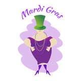 Mardi Gras Carnival Een vrouw in een hoed-cilinder met gekleurde parels Stock Foto's