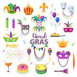 Mardi Gras Carnival Elements Colourful Collection Royalty Free Stock Photography
