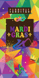 Mardi Gras carnival. Carnival, Festival, Music Masquerade Mardi Gras Parade colorful flyer with`fleur de lis`invitation design. Vector festive Funny ticket Royalty Free Stock Image