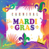 Mardi Gras. Carnival, Festival, Music Masquerade Mardi Gras Parade colorful invitation design. Vector Funfair, parade funny flyer placard tickets banners and Stock Photo