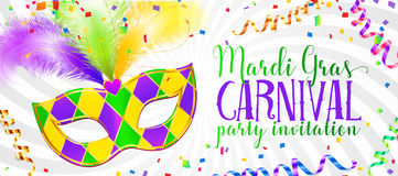 Mardi Gras carnival flyer and banner template with traditional mask and serpentine Stock Photos
