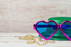 Mardi gras carnival glasses and hat for party Royalty Free Stock Images