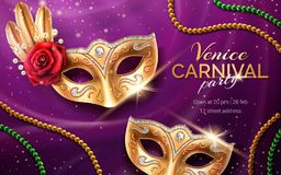 Mardi gras carnival invite with mask and beads. Background for venetian masquerade flyer with rose flower and peacock feather on satin. Fat tuesday Venice vector illustration