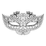 Mardi Gras Carnival Mask for coloring book and other decorations Royalty Free Stock Image