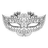 Mardi Gras Carnival Mask per il libro da colorare ed altre decorazioni Immagine Stock Libera da Diritti
