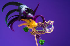 Mardi Gras or carnival mask on purple background Royalty Free Stock Photo