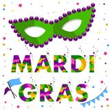 Mardi gras carnival mask with round beads and colored text Mardi Gras. Vector illustration Royalty Free Stock Images