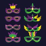 Mardi gras carnival masks with feathers differents style stock image