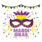 Mardi gras carnival masks with feathers garland confetti decoration white background royalty free stock photography