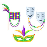 Mardi Gras. Carnival Masks Isolated Illustrations stock image