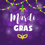 Mardi Gras Carnival Party Vector Background Masquerade Celebration Festival Poster Design Holiday Purple Brochure Royalty Free Stock Photography