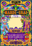 Mardi Gras Carnival Poster Frame Carnival Mask Show Parade Royalty Free Stock Photo