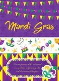 Mardi Gras carnival poster, invitation, greeting card. Happy Mardi Gras Template for your design with mask feathers. Mardi Gras carnival poster, invitation Stock Photos