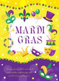 Mardi Gras carnival poster, invitation, greeting card. Happy Mardi Gras Template for your design with mask feathers. Mardi Gras carnival poster, invitation Royalty Free Stock Photos