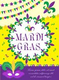Mardi Gras carnival poster, invitation, greeting card. Happy Mardi Gras Template for your design with mask feathers. Mardi Gras carnival poster, invitation Stock Images