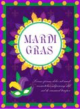 Mardi Gras carnival poster, invitation, greeting card. Happy Mardi Gras Template for your design with mask feathers. Mardi Gras carnival poster, invitation Royalty Free Stock Photo