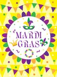 Mardi Gras carnival poster, invitation, greeting card. Happy Mardi Gras Template for your design with mask feathers. Mardi Gras carnival poster, invitation Stock Photography