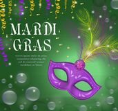 Mardi Gras carnival poster, invitation, greeting card. Happy Mardi Gras Template for your design with mask feathers. Holiday in New Orleans. Fat Tuesday Stock Image