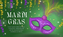 Mardi Gras carnival poster, invitation, greeting card. Happy Mardi Gras Template for your design with mask feathers. Holiday in New Orleans. Fat Tuesday Royalty Free Stock Image