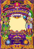 Mardi Gras Carnival Poster Template Carnival Mask Show Parade. Mardi Gras festival poster illustration. New Orleans night Show Carnival Party Parade masquerade Royalty Free Stock Images