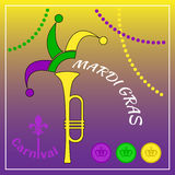 Mardi Gras Carnival poster. Trumpet and jester headgear. Coins and beads. Yellow trumpet, jester headgear. Three coins - violet, green and yellow. Color beads royalty free illustration