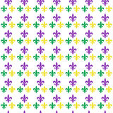 Mardi Gras Carnival seamless pattern with fleur-de-lis. endless background, texture, wallpaper. Vector illustration Royalty Free Stock Photography