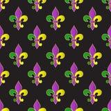 Mardi Gras Carnival seamless pattern with fleur-de-lis. Stock Photo