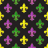 Mardi Gras Carnival seamless pattern with fleur-de-lis. Mardi Gras endless background, texture, wrapper. Vector illustration Royalty Free Stock Photography