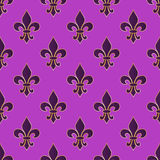 Mardi Gras Carnival seamless pattern with fleur-de-lis. Mardi Gras endless background, texture, wrapper. Vector illustration Royalty Free Stock Images