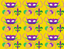 Mardi Gras Carnival seamless pattern with mask feathers, beads.   endless background, texture, wallpaper. Vector. Mardi Gras Carnival seamless pattern with mask Stock Photo