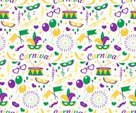 Mardi Gras Carnival seamless pattern with mask feathers, beads. Fat Tuesday endless background, texture, wallpaper stock images